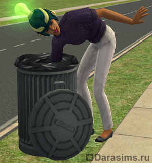 Неряшливый персонаж роется в мусорном баке
