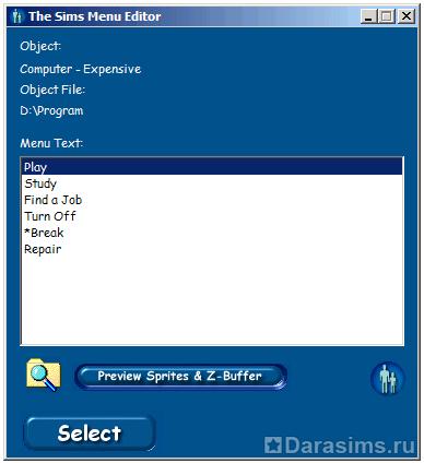 Переименование действий предмета с помощью The Sims Menu Editor