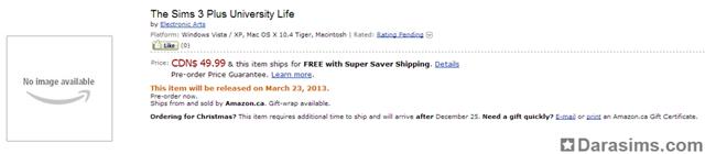 В списках предзаказа на Amazon появилась «The Sims 3 University Life»