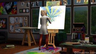 Студент-художник в «The Sims 3 University Life»