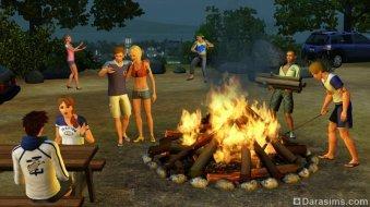 Большой костер в «The Sims 3 University Life»
