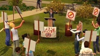 Акция протеста в «The Sims 3 University Life»