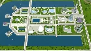 Искусственный водоем в городе будущего