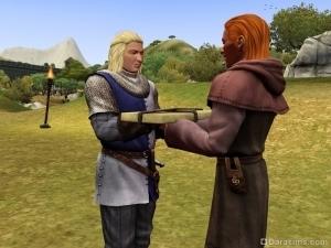 Встреча кузнеца с заказчиком в The Sims Medieval