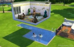 Ничего не подозревающие симы играют в бассейне под «летающей» комнатой в Симс 4.
