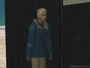 Фото из Симс 2: призрак в зимней одежде на улице.