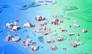 Схема районов Оазис Спрингс DaraSims