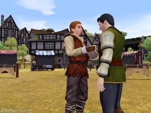 Торговец решает подкупить посетителя в Sims Medieval