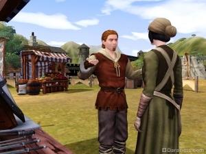 Льстить покупателю на рынке The Sims Medieval