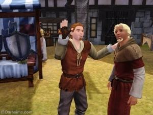 Торговец с клиентом в Симс Средневековье