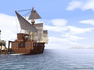 Торговый корабль в Симс Средневековье