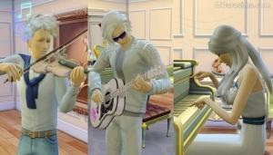 игра на скрипке, гитаре и пианино sims 4