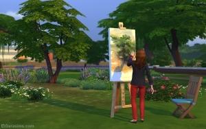 Сим рисует на мольберте