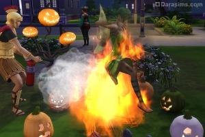 сим воспламеняется от зажженных тыкв