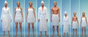 Халаты и полотенца в The Sims 4 День спа