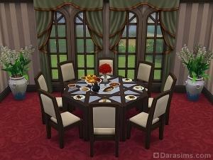 большой круглый стол для столовой