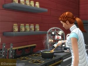 персонаж готовит снадобье на кухонной плите