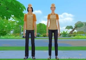 Рабочая одежда официантов-подростков в The Sims 4