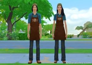 Униформа барменов-подростков в Симс 4
