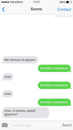 Переписка с другом по СМС в симс-реальности