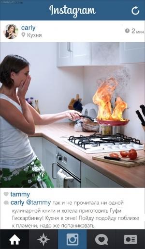 Заметка о пожаре в Инстаграме в симс-реальности