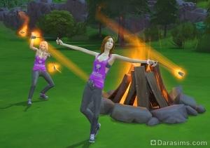 танцы с огнем у костра