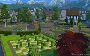 Старый город и шахматная доска из зелени