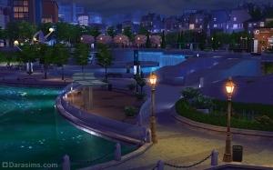 Ночная набережная и фонтаны