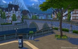 Декорации города: мосты, дома и горы