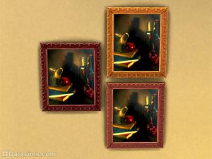 """картина """"Натюрморт с яблоком, кувшином, книгами, бутылками и цветами"""" в симс 4"""