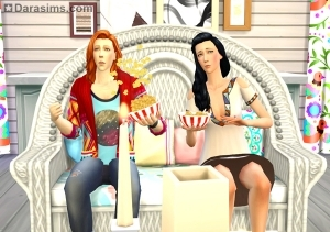 просмотр кинофильмов с попкорном в the sims 4 movie hangout