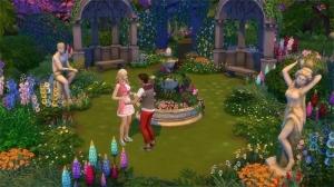 Романтический сад со статуями и цветами