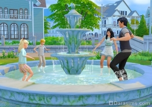 Персонажи играют в фонтане