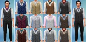 Мужская рубашка с жилетом и платком