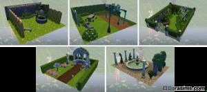 Готовые сады в виде стилизованных комнат в Симс 4