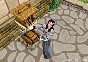 Сим пользуется почтамтом в The Sims Medieval