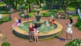 Большой фонтан в парке из «Симс 4 Романтический сад»