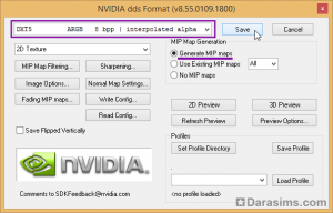 сохранение текстуры в формате dds dxt5 interpolated alpha