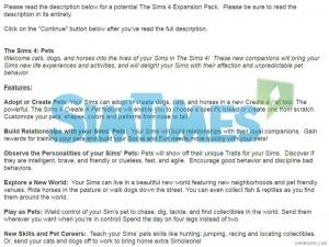 скриншот опроса ЕА о питомцах в The Sims 4
