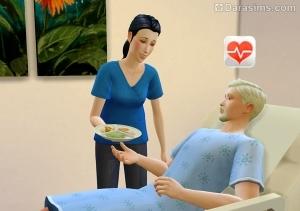 Доктор дает еду пациенту в Sims 4