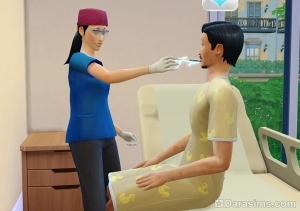 Померить температуру пациента в Sims 4