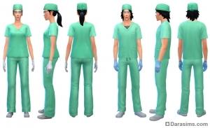 Униформа в работе доктора Sims 4
