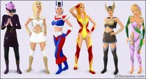 Женские костюмы супергероев в Симс 3