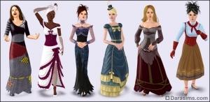 Викторианские платья в Симс 3