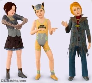 Детские костюмы в каталоге Sims 3 Кино