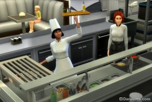 повар за работой в sims 4 в ресторане