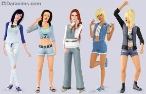 Женская одежда в каталоге Симс 3 Стильные 70-е 80-е 90-е