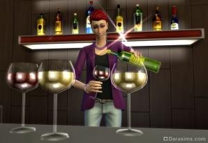 Вино в Симс 4 В ресторане