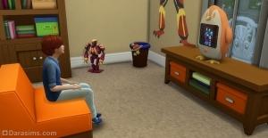 Ребенок перед телевизором в Симс 4