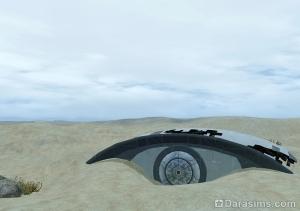 Место крушения корабля на пустоши Оазиса приземления